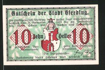 Notgeld Eferding 1919, 10 Heller, Stadtwappen, Blick durch das Linzer Tor 1800