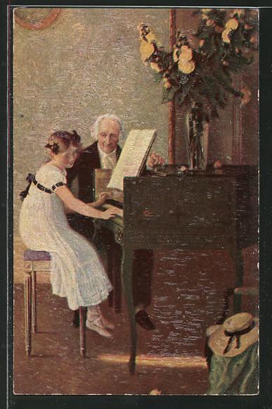 Ölgemälde-Imitations-Künstler-AK Degi Nr. 1043: Die erste Klavierstunde