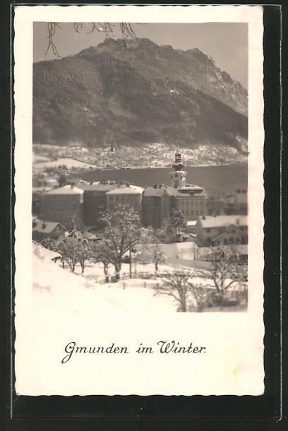 AK Gmunden, winterliche Teilansicht vom Berg aus