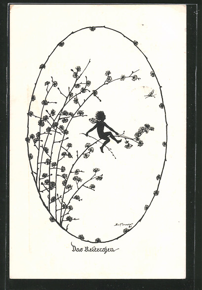 Künstler-AK Elsbeth Forck: Das Reiterchen, Elfe sitzt auf einem Ast