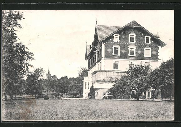 AK St. Chrischona, grosses Haus vom Garten gesehen