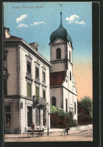 AK Baden, Post und Kirche
