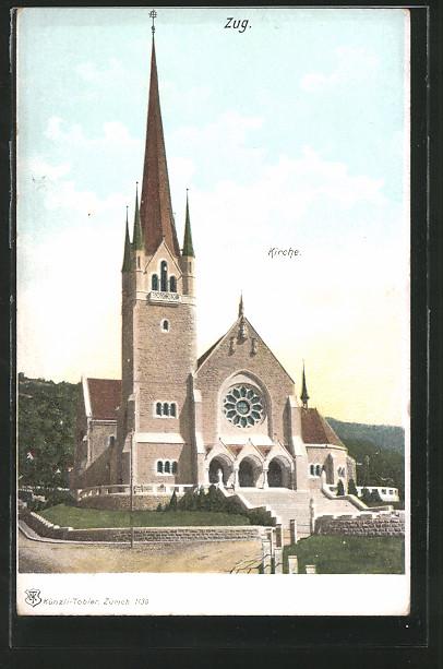 AK Zug, Blick zur Kirche