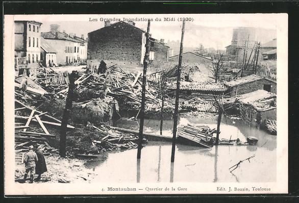 AK Montauban, Quartier de la Gare, durch Hochwasser zerstörte Gebäude 1930