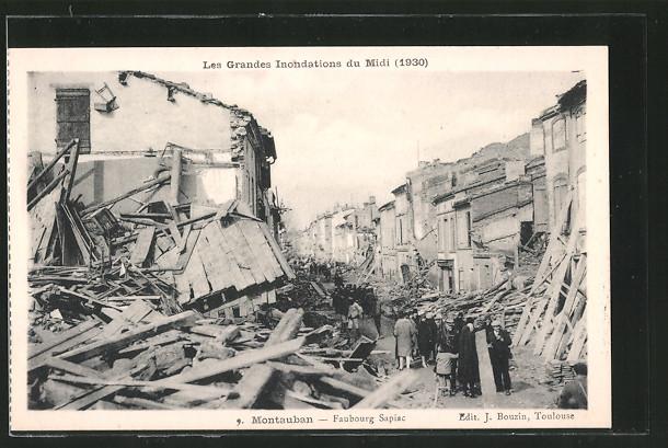 AK Montauban, Faubourg Sapiac, durch Hochwasser zerstörte Gebäude 1930