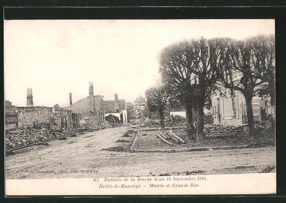 AK Heiltz-le-Maurupt, Mairie et Grande Rue