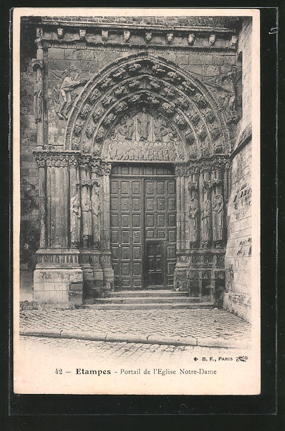AK Etampes, Portail de l'Eglise Notre-Dame