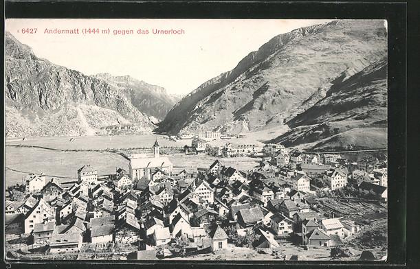 AK Andermatt, Gesamtansicht des Ortes gegen das Urnerloch