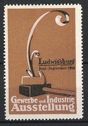 Reklamemarke Ludwigsburg, Gewerbe-und Industrie-Ausstellung 1914, Hobel, braun