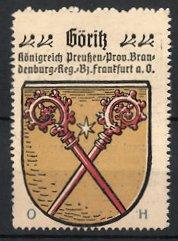 Reklamemarke Göriss, Königreich Preussen, Provinz Brandenburg, Regierungs-Bezirk Frankfurt an der Oder, Stadtwappen