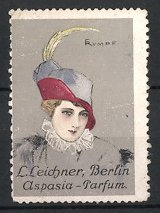 Künstler-Reklamemarke Rumpf, Aspasia-Parfüm der Parfümerie Leichner, Berlin, Damen-Porträt