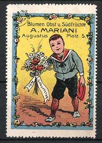 Reklamemarke Blumen und Obst der Firma Mariani, Junge im Matrosenanzug mit Blumenstrauss