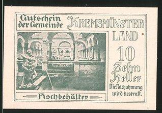 Notgeld Kremsmünster 1920, 10 Heller, Fischbehälter, Ortsmotiv Nr ...