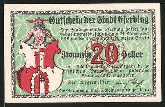 Notgeld Eferding 1920, 20 Heller, Stadtwappen, Kirchenmotiv