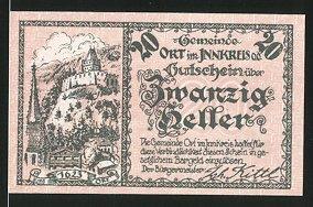 Notgeld Ort im Innkreis 1920, 20 Heller, Burg Ort 1623