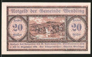 Notgeld Wendling 1920, 20 Heller, Ortsmotiv