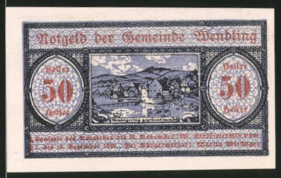 Notgeld Wendling 1920, 50 Heller, Ortsmotiv