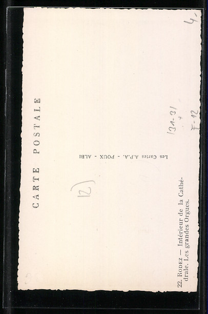 AK Rodez, Intérieur de la Cathédrale, Les grandes Orgues, grosse Orgel 1
