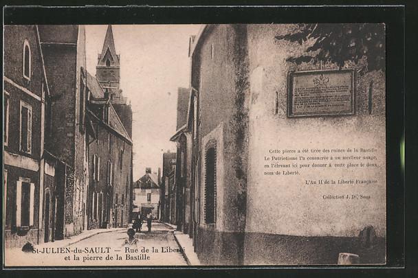 AK St-Julien-du-Sault, Rue de la Liberte et la pierre de la Bastille