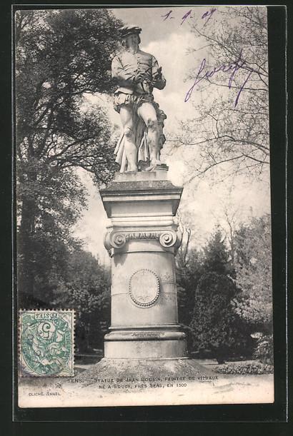 AK Sens, Statue de Jean Cousin, Peintre de Vitraux