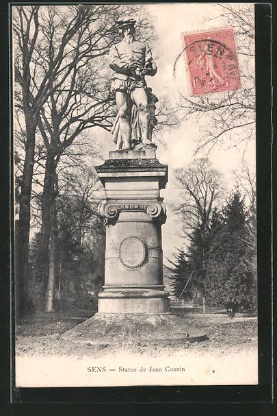 AK Sens, Statue de Jean Cousin, Frontalansicht