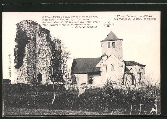 AK Cornil, Les Ruines du Château et l'Eglise
