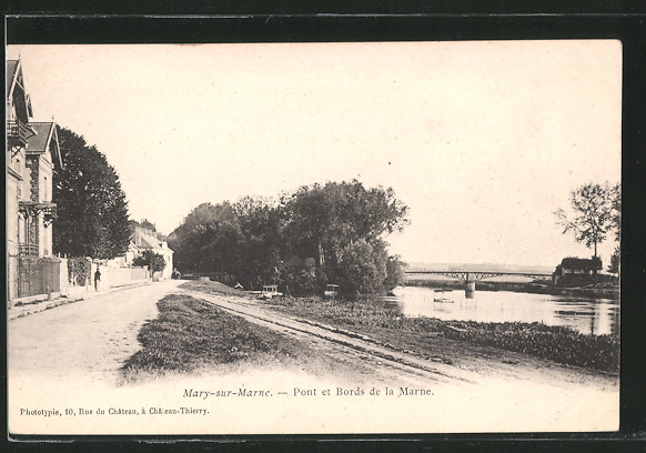 AK Mary-sur-Marne, Pont et Bords de la Marne