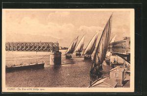 AK Caire, Le pont de Kasr-el-Nil ouvert