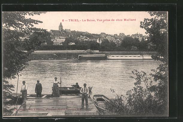 AK Triel, La Seine, Vue prise de chez Maillard