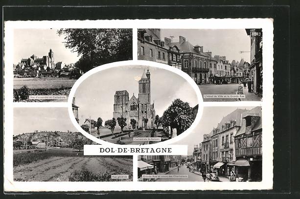 AK Dol-de-Bretagne, Vue générale, Grande Rue et cours des Charretiers
