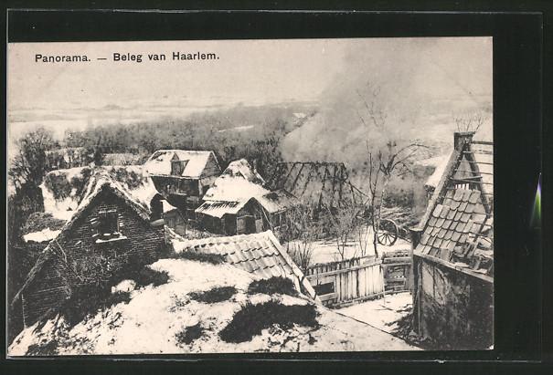 AK Haarlem, Ortsansicht während der Belagerung