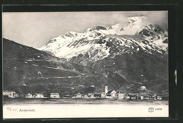 AK Andermatt, Ortsansicht mit Bergblick
