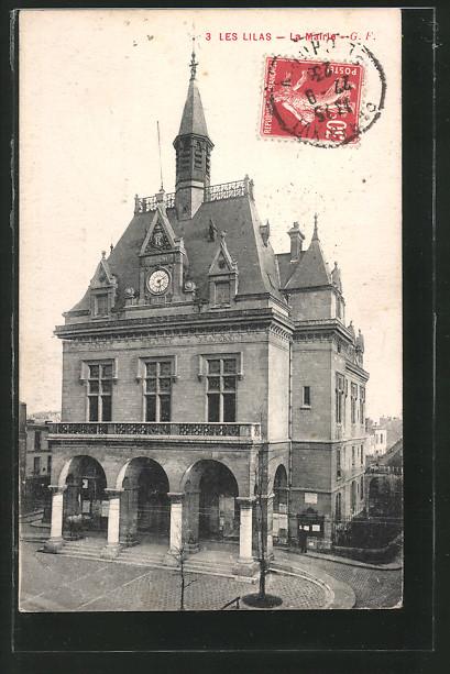 AK Les Lilas, La Mairie mit Platz