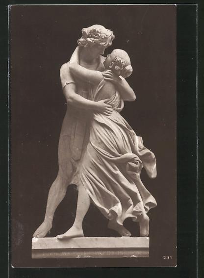 Künstler-AK Erdmann-Encke: Wiedersehen, Skulptur, Paar liegt sich in den Armen