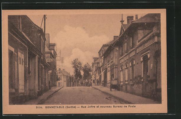 AK Bonnétable, la rue Joffre et le nouveau bureau de poste