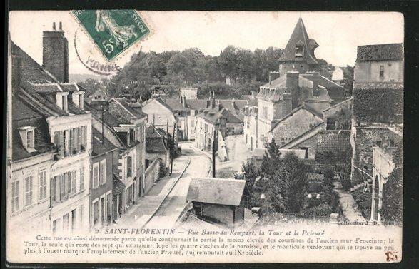 AK Saint-Florentin, Rue Basse-du-Rempart, la Tour et le Prieure