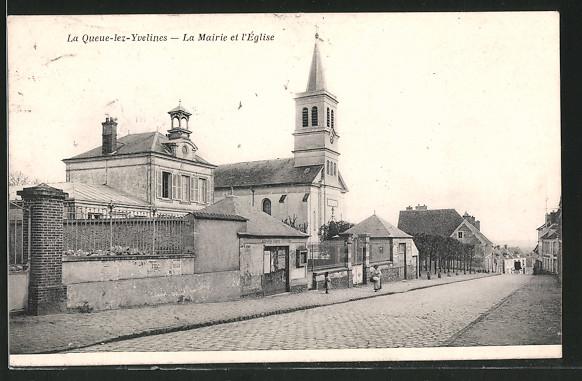 AK La Queue-lez-Yvelines, La Mairie et l'Église