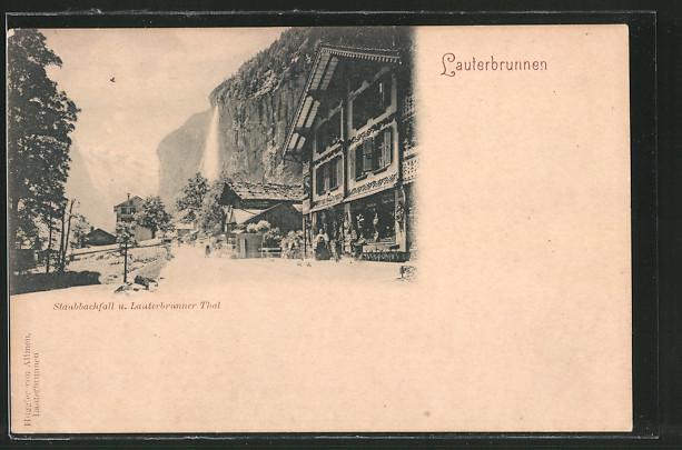 AK Lauterbrunnen, Staubbachfall und Lauterbrunner Tal