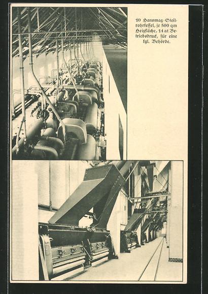AK Reklame 10 Hanomag-Streitrohrkessel, je 500 qm Heizfläche, 14 at ...