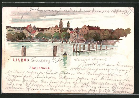 Künstler-AK Fritz Voellmy: Lindau, Panorama vom Bodensee aus