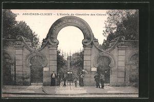 AK Asnières-Clichy, L'Entrée du Cimetiere des Chiens, Hundefriedhof, Eingang