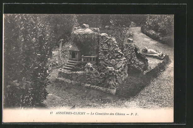 AK Asnières-Clichy, Le Cimetiere des Chiens, Hundefriedhof, aufwändige Skulptur