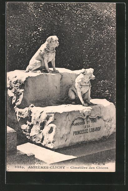 AK Asnieres-Clichy, Cimetiere des Chiens, Hundegrab