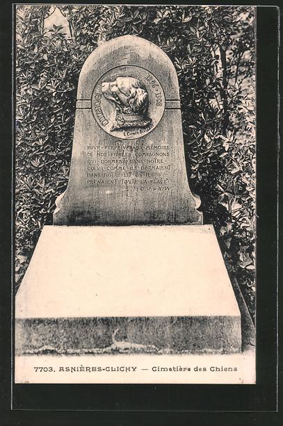 AK Asnières-Clichy, Cimetière des Chiens, Hundefriedhof, einfacher Grabstein mit Inschrift