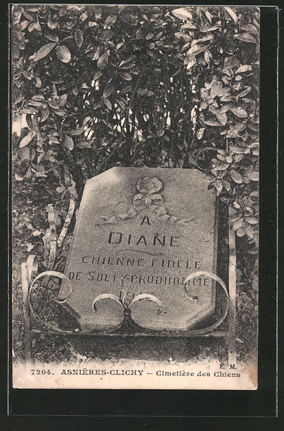 AK Asnières-Clichy, Cimetière des Chiens, Hundefriedhof, Grabstein von Diane