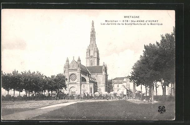AK Sainte-Anne-d'Auray, les Jardins de la Scala-Sancta et la Basilique