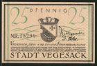 Notgeld Vegesack 1921, 25 Pfennig, Stadtwappen, Dampfschiff