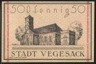 Notgeld Vegesack 1921, 50 Pfennig, Stadtwappen, evangelische Kirche