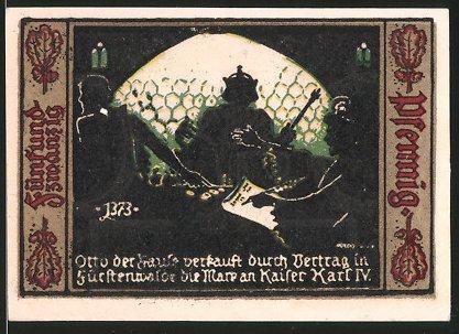 Notgeld Fürstenwalde an der Spree 1921, 25 Pfennig, Stadtwappen, Otto verkauft Fürstenwalde an Kaiser Karl IV.