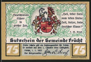 Notgeld Frücht 1922, 75 Pfennig, Stadtwappen, Standbild des Ministers vom Stein
